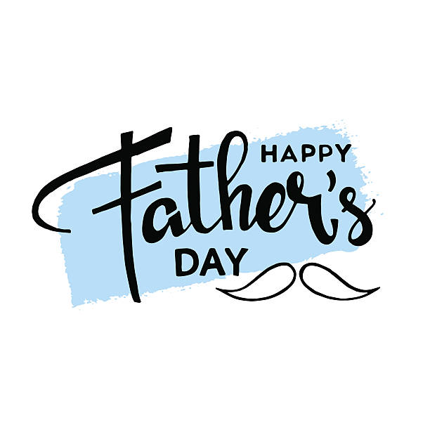 happy fathers day hand drawn lettering - fathers day stock illustrations, clip art, cartoons, & icons