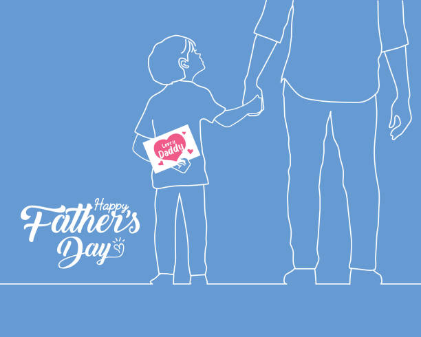 ilustrações, clipart, desenhos animados e ícones de dia de pai feliz-mão desenhada mão do pai da terra arrendada do filho com na linha branca estilo da arte - feliz dia dos pais