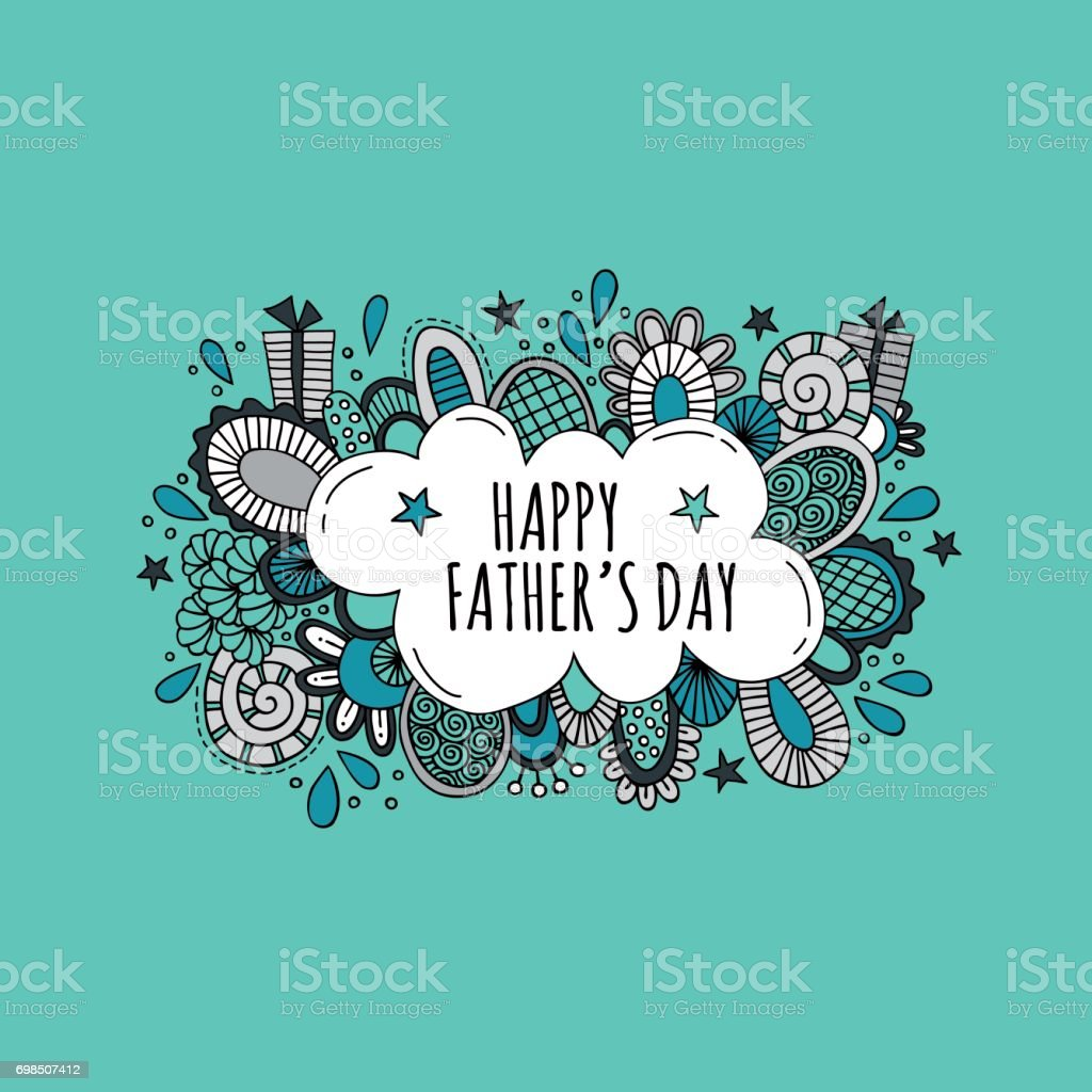 Happy Father's Day Hand Drawn Vector Illustration Happy Father's Day bright vector illustration with presents, stars, shapes and swirls on a green background. Abstract stock vector