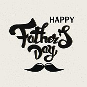 Happy Fathers Day hand lettering, typography greeting card