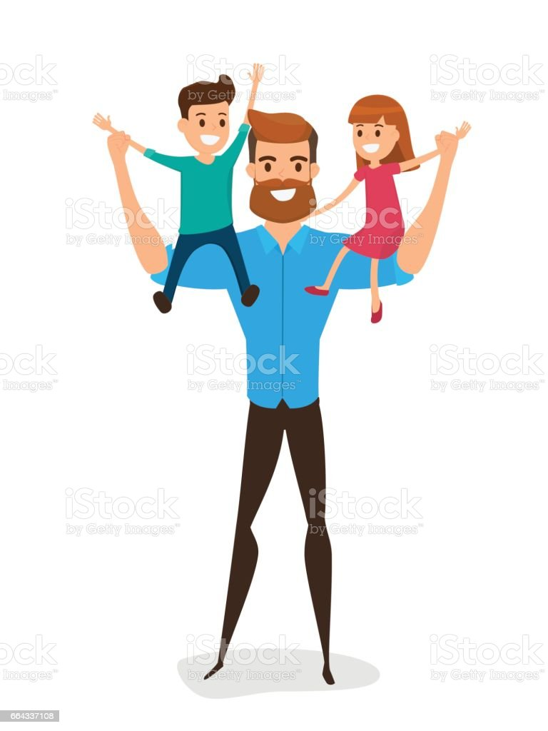 Happy Father's Day. Happy family concept. Dad carrying little son and little daughter on his shoulders. vector art illustration