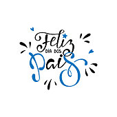 Feliz dia dos Pais - Happy fathers day in brazilian portuguese greeting card with typographic design lettering