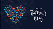 Happy Father's Day Holiday Greeting Card with Handwriting Text Lettering and Vector Hearts Background Illustration