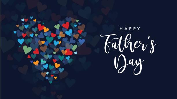 ilustrações, clipart, desenhos animados e ícones de cartão de saudação de feriado do dia dos pais feliz com letra de texto de caligrafia e ilustração de fundo de corações vetoriais - feliz dia dos pais