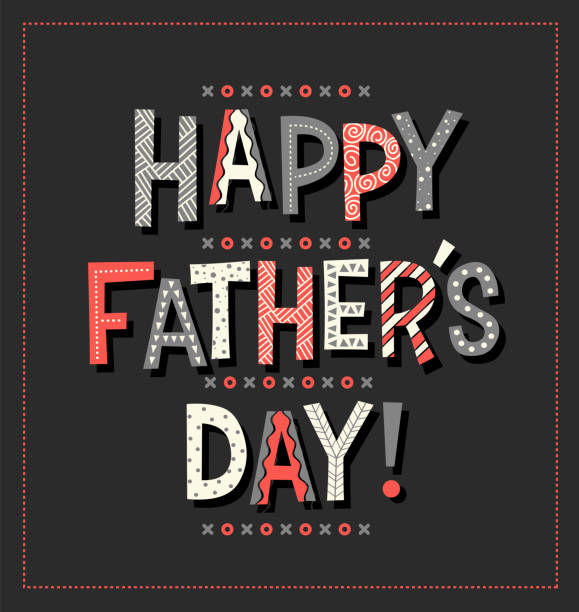Happy Father's Day in cartoon doodle font. Typography design for greeting cards, web banners. vector art illustration