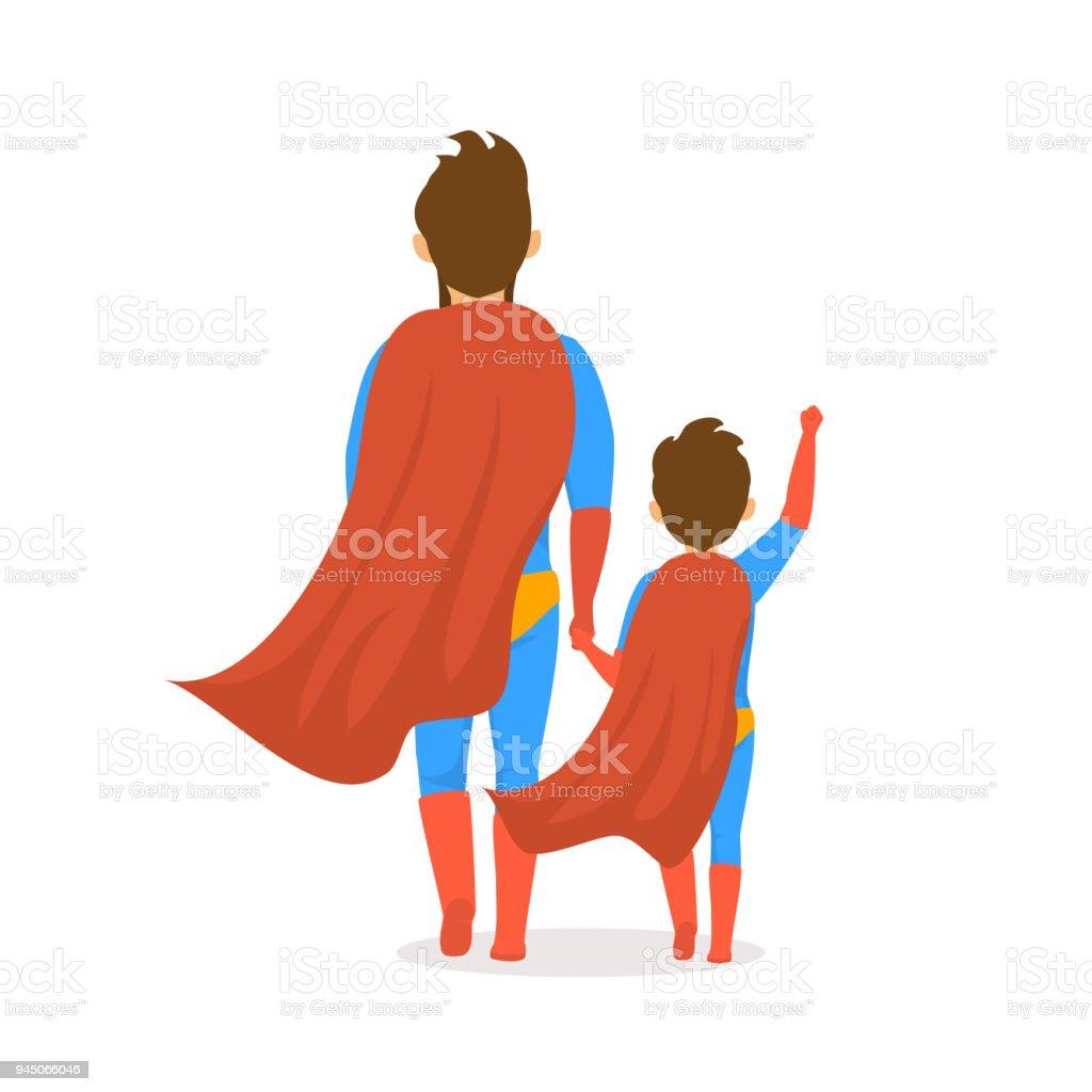 幸せな父親日分離ベクトル イラスト漫画裏面表示シーンのお父さんと息子が一緒に手を繋いで歩いてスーパー ヒーロー衣装を着た ベクターアートイラスト