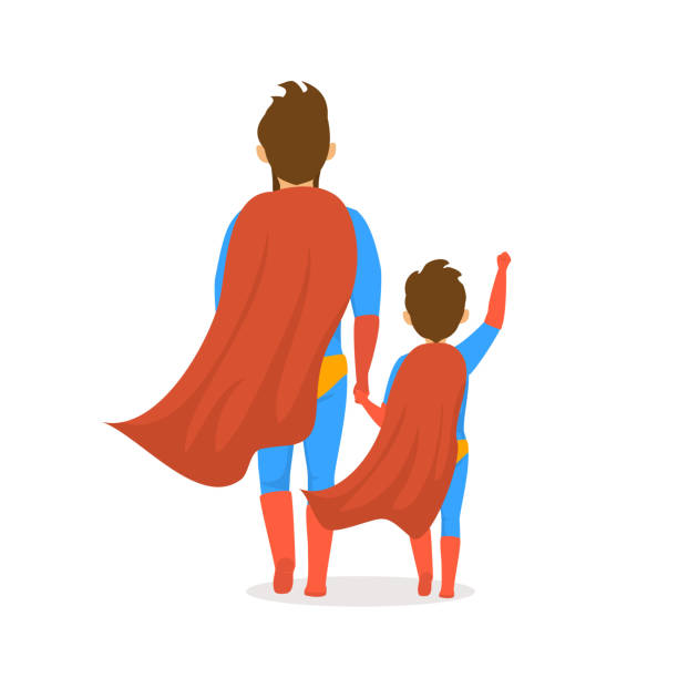 happy fathers day isolated vector illustration cartoon backside view scene with dad and son dressed in superhero costumes walking together holding hands - father stock illustrations, clip art, cartoons, & icons