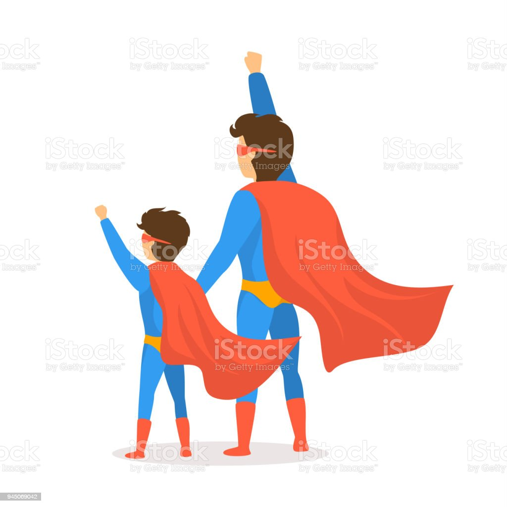 happy fathers day isolated vector illustration cartoon backside view scene with dad and son dressed in superhero costumes vector art illustration