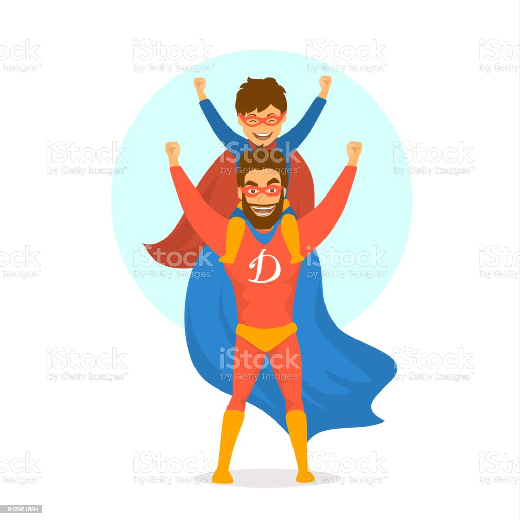 happy fathers day isolated vector illustration cartoon fun scene with dad and son dressed in superhero costumes vector art illustration