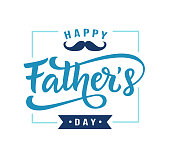 Happy Fathers Day poster, badge with hand written lettering, isolated on white. Cute typography design template for banner, gift card, t shirt print, sticker. Retro vintage style. Vector illustration