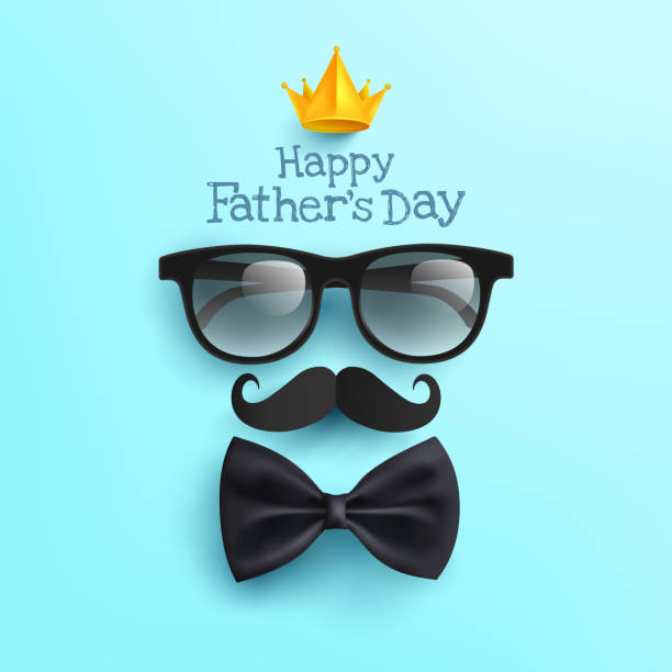 Happy Father's Day poster with Glasses,Mustache Paper and Bow tie on blue.Greetings and presents for Father's Day in flat lay styling.Promotion and shopping template for love dad concept vector art illustration