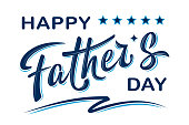 Happy Father's day poster with handwritten lettering text, isolated on white background. Vector celebration sign for postcard, greeting cards, poster, invitation, banner, sticker. Season greetings