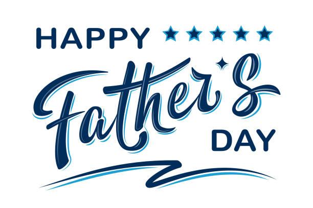 ilustrações, clipart, desenhos animados e ícones de poster feliz do dia de pai com texto escrito à mão da rotulação - feliz dia dos pais