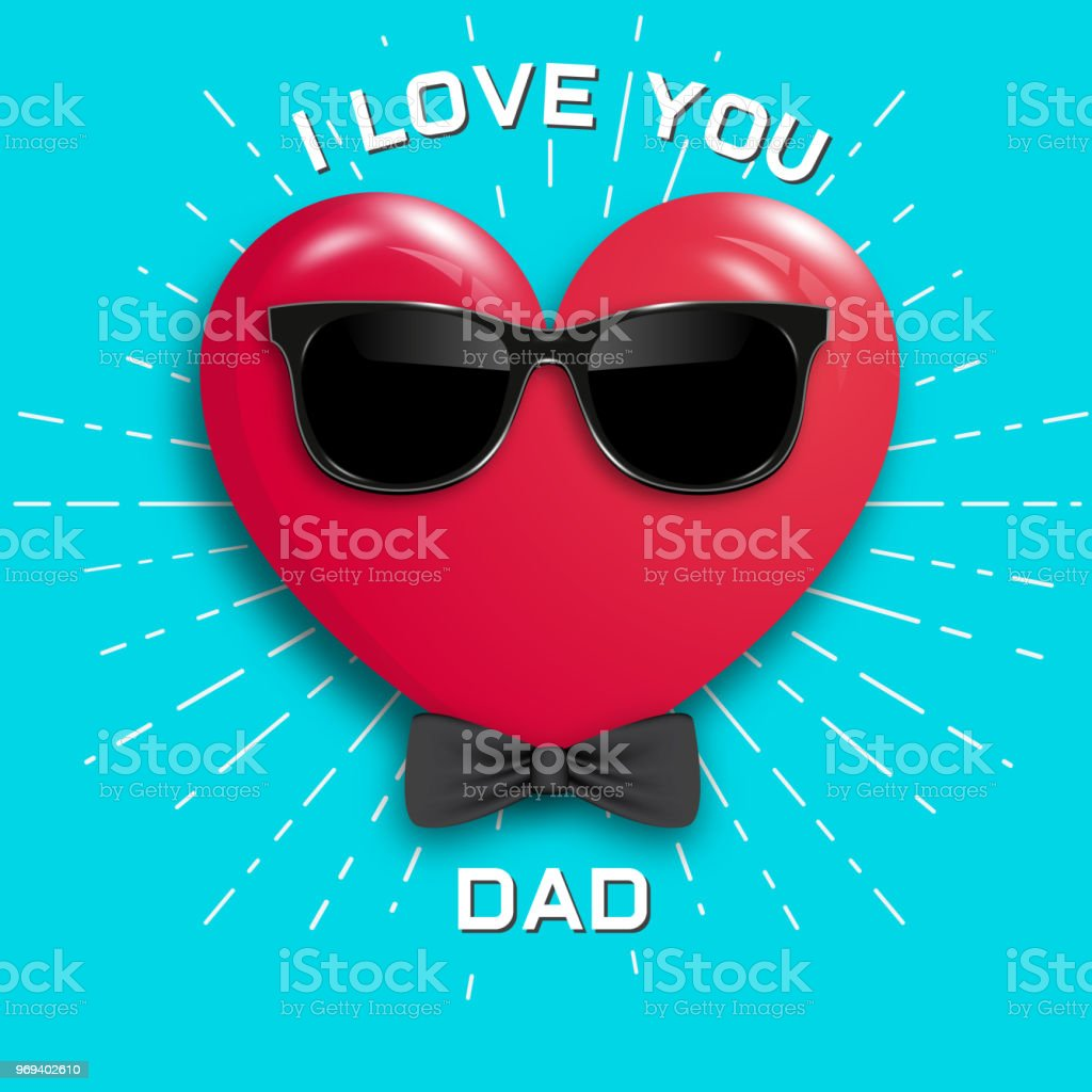 Happy Fathers Day Red Heart In Glasses On Blue Background Stock