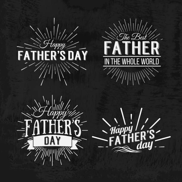 happy father's day retro calligraphic design element. happy father's day vintage typographical chalkboard design. happy fathers day retro chalk invitation labels with light rays. vector illustration - fathers day stock illustrations, clip art, cartoons, & icons