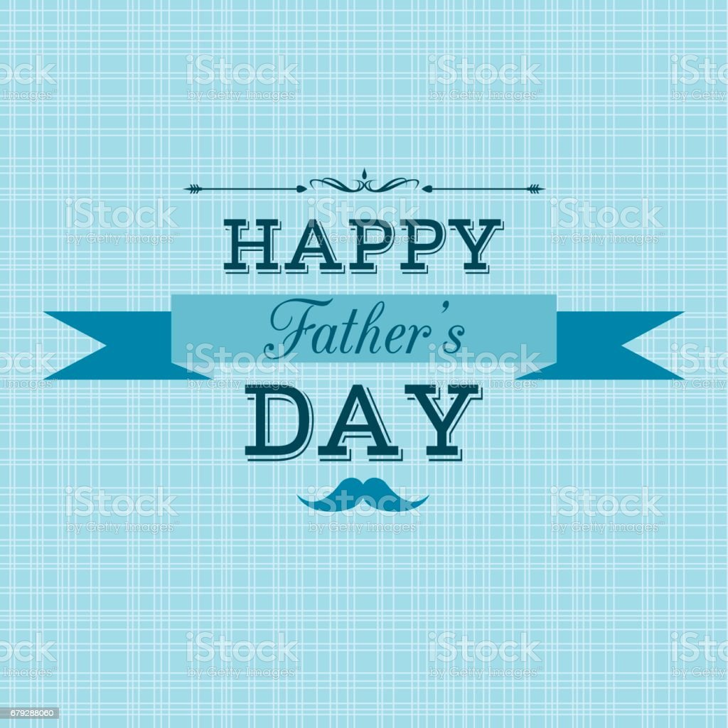 Happy Father's Day retro greeting card vector art illustration
