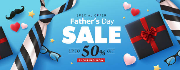 Happy Fathers Day Sale 50% off banner background.Promotion and shopping template.Vector illustration. vector art illustration