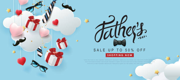 Happy Fathers Day Sale banner backgroung.Promotion and shopping template.Vector illustration. vector art illustration