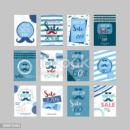 Happy Father's Day sale. Set of  vector illustration for promotion, poster, flyer, discount card, shopping template, price label, blog, social media, marketing, ad special offer banner