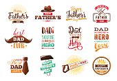 Happy fathers day set. Vector typography.