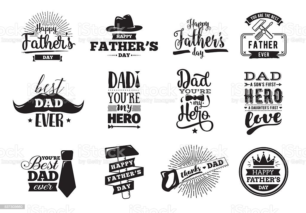 Happy fathers day set. Vector typography. vector art illustration