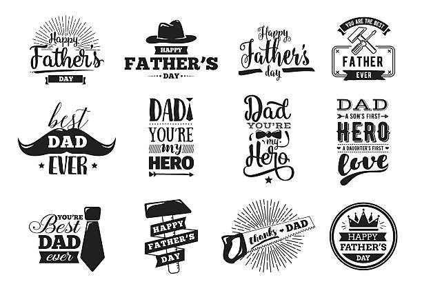 happy fathers day set. vector typography. - father stock illustrations, clip art, cartoons, & icons
