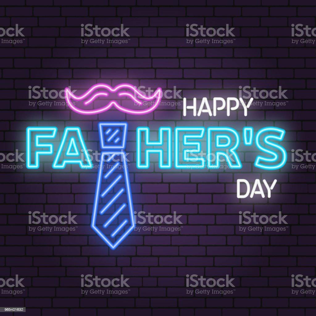 Happy Fathers Day Zeichen auf Ziegel Wand Hintergrund. Neon-Design für Vatertag. Vektor - Lizenzfrei Anzünden Vektorgrafik