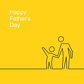 Happy Father's Day - Son holding father's hand with in line art style.\nVector illustration.\nEPS 10.