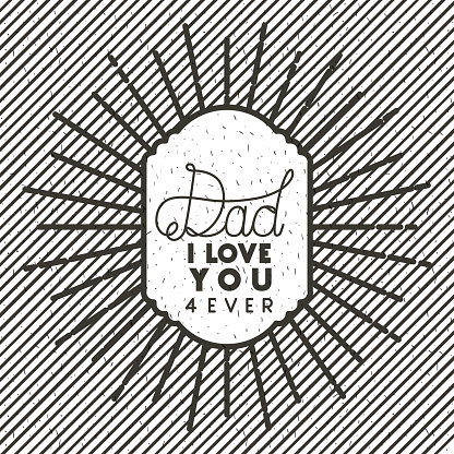 Happy Fathers Day Sunburst Emblem Stock Illustration - Download Image Now