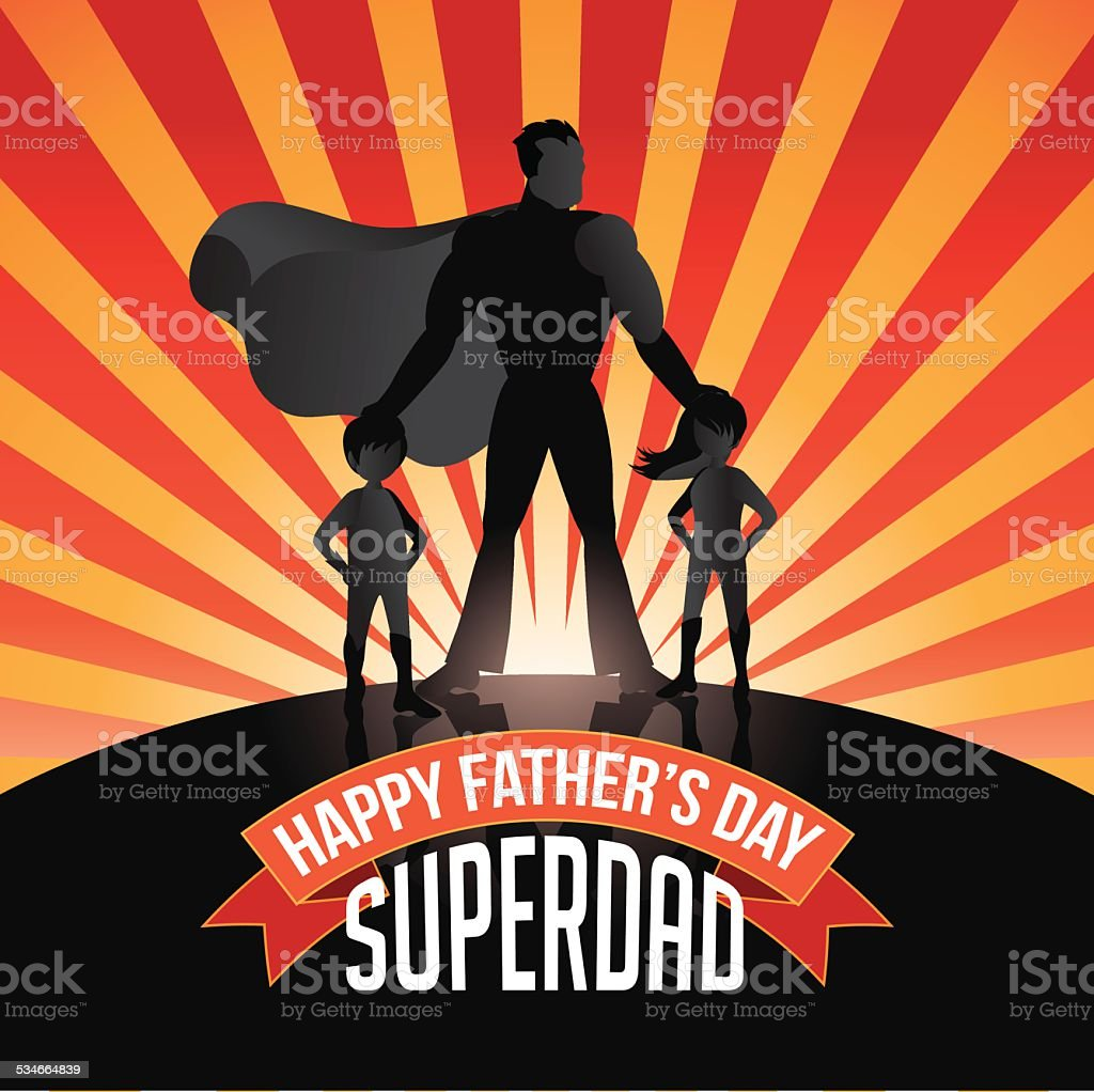 Happy Fathers Day Superdad burst vector art illustration