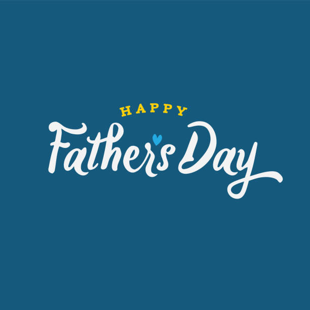 happy father's day text vector illustration - fathers day stock illustrations, clip art, cartoons, & icons