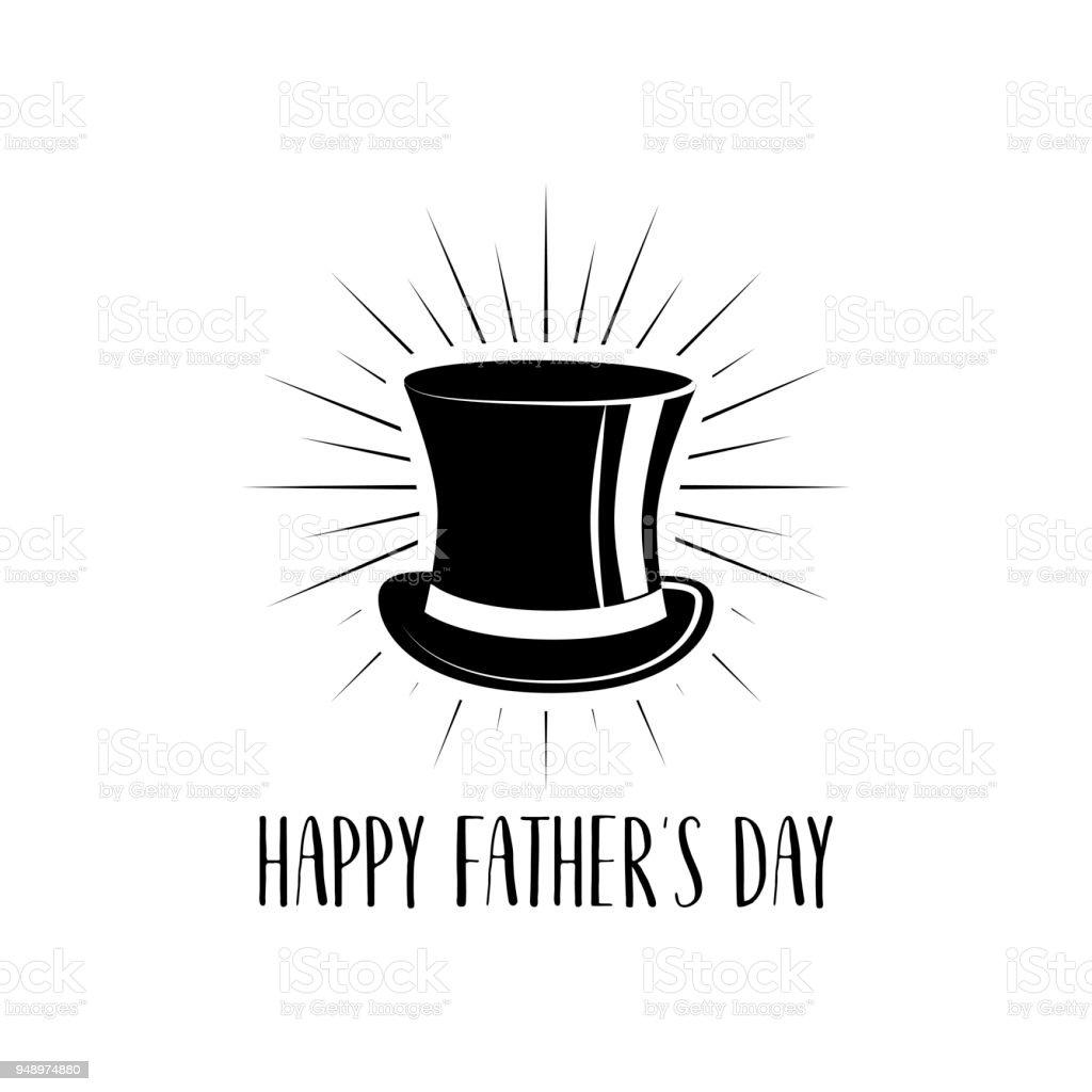 Día de padres feliz. Icono del sombrero de copa. Tarjeta de felicitación a486e23b32f