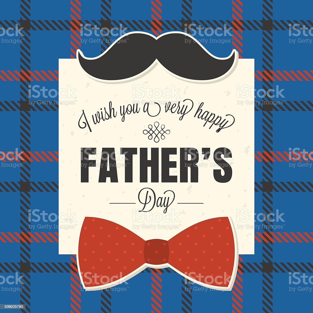 Happy father's day typographical on plaid background vector art illustration