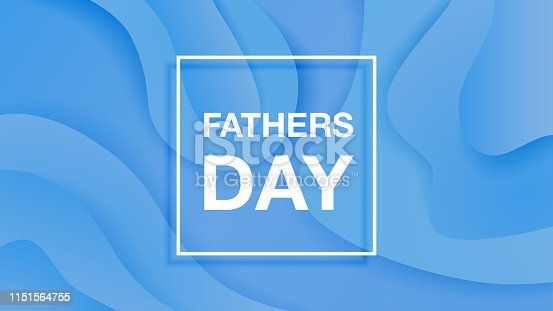 Happy fathers day vector banner on blue paper cut bacground.