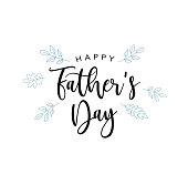Happy Father's Day Vector Calligraphy Text With Blue Leaves Illustration