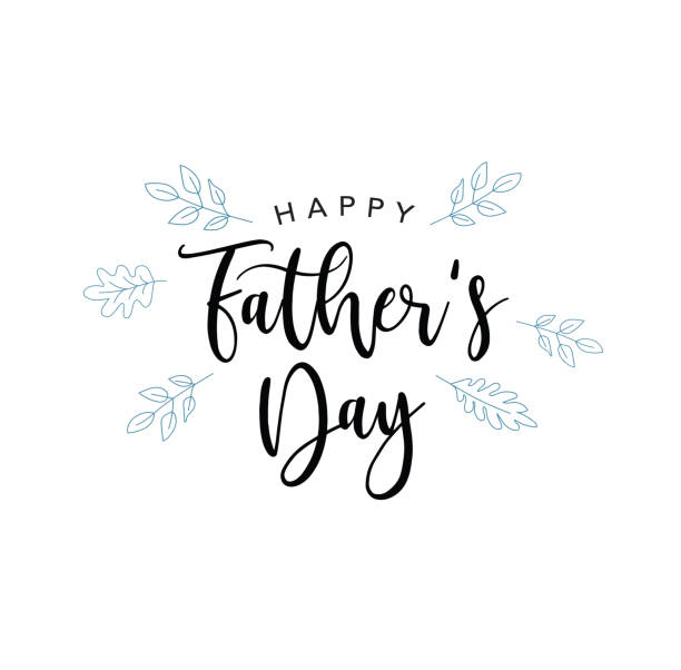 happy father's day vector calligraphy text with blue leaves - fathers day stock illustrations, clip art, cartoons, & icons