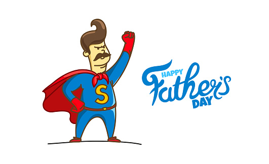 Happy fathers day vector card with lettering logo