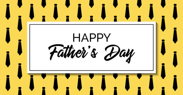 happy father's day. vector greeting card. stylish fashion template with neckties. facebook link size - fathers day stock illustrations, clip art, cartoons, & icons