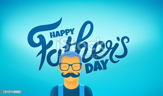 istock Happy fathers day vector greeting card with cute moustached dad 1313149982