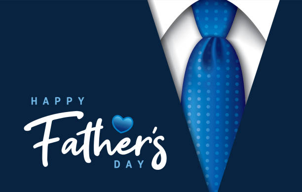 Happy Father's Day Happy Father's Day greeting card with necktie and typography design fathers day stock illustrations