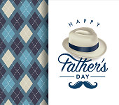 Fathers day greeting card with typography design, hat, moustache and repeating pattern background