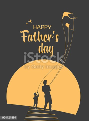 Happy father and son enjoy kiting. Father's day poster. Flat minimal simple style. Family leisure fun activity on nature. Dad and kid boy together. Holiday flyer banner background. Vector illustration