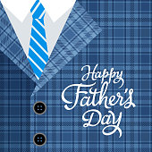 It's time to appreciate and celebrate the Father's Day with suit, necktie and textile pattern on the background