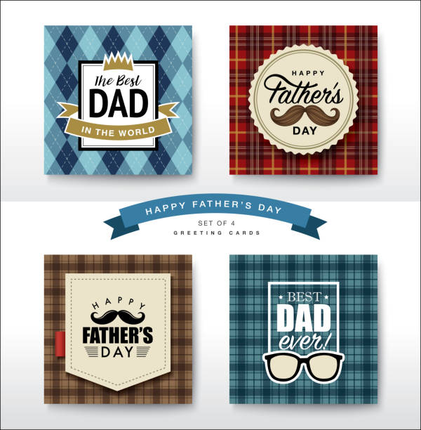 happy fathers day - fathers day stock illustrations, clip art, cartoons, & icons