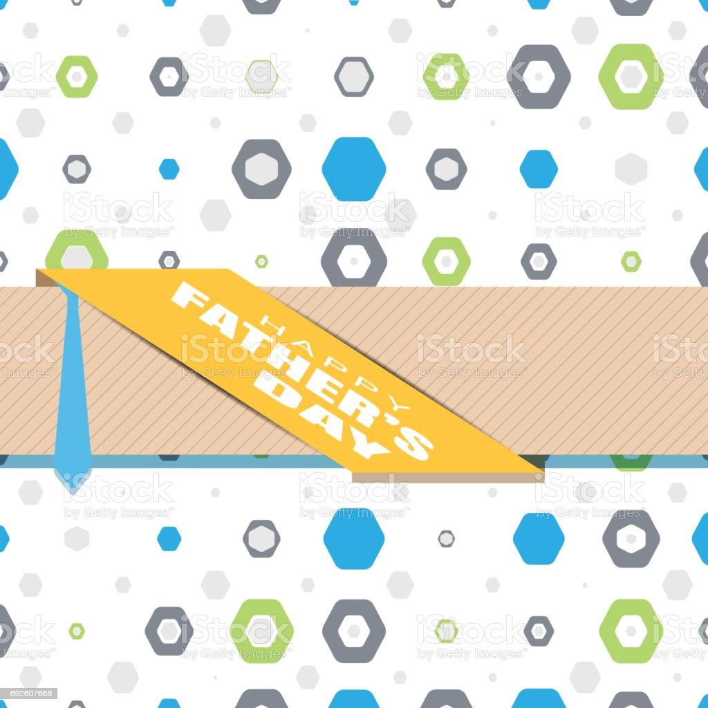 Happy Fathers Day Vector Poster With Text Blue Tie Brown Ribbon ...