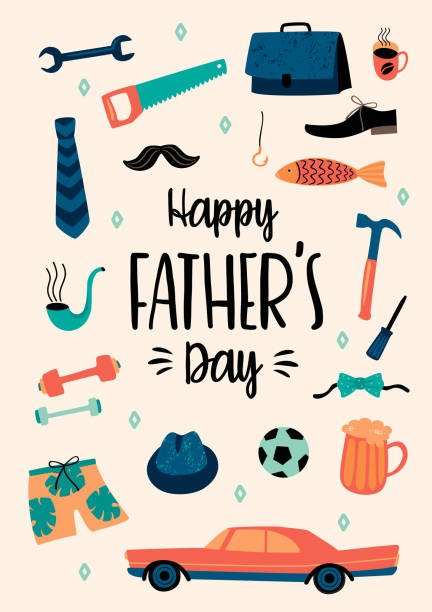 Happy Fathers Day. Vector templates. Happy Fathers Day. Vector templates. Design element for card, poster, banner, flyer and other use. fathers day stock illustrations