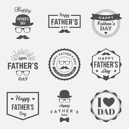 happy fathers day vintage labels set. vector illustration