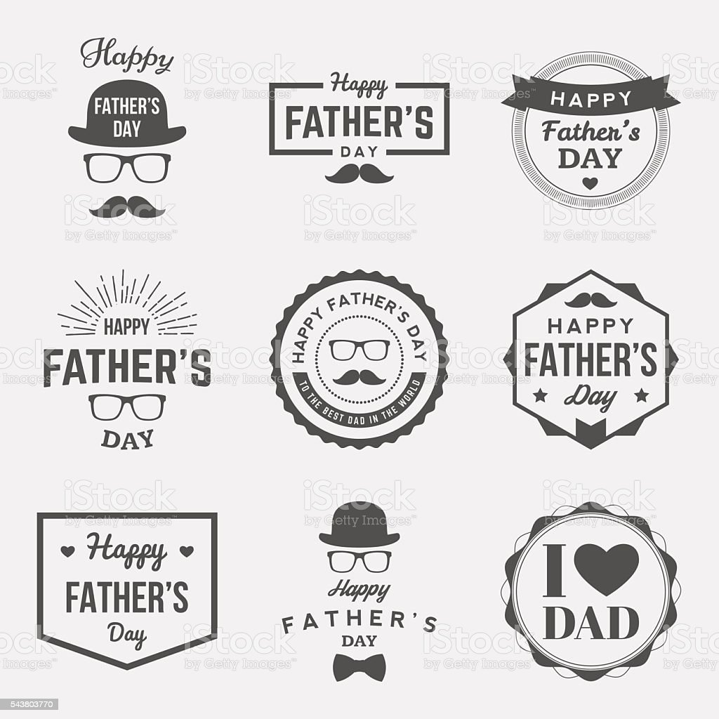 happy fathers day vintage labels set. vector illustration vector art illustration