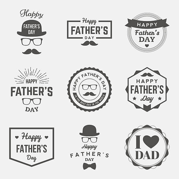 happy fathers day vintage labels set. vector illustration - fathers day stock illustrations, clip art, cartoons, & icons