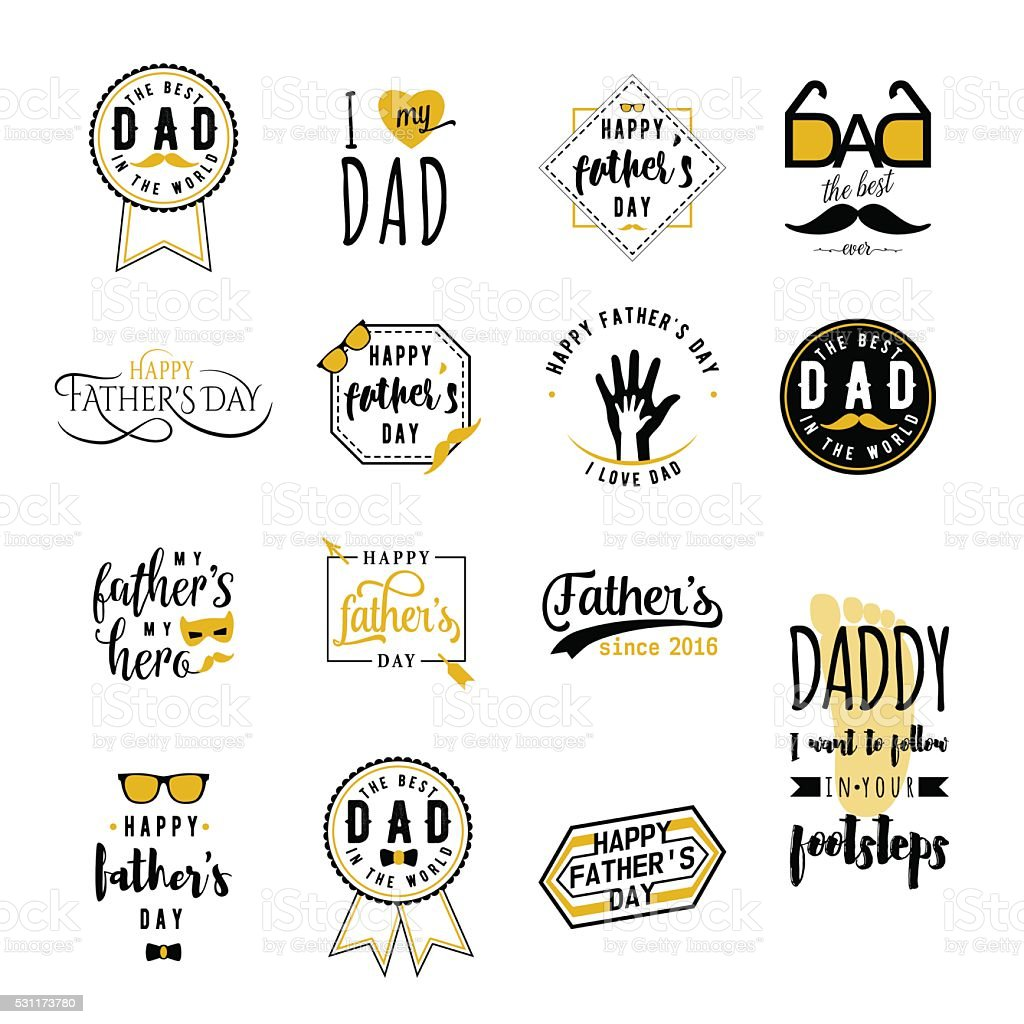 Happy fathers day wishes overlays, lettering labels design set. Retro vector art illustration
